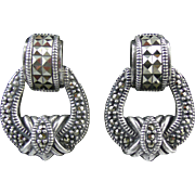 SALE Vintage Judith Jack Sterling and Marcasite Door Knocker Earrings