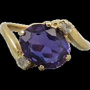SALE 3ct Violet Lab Sapphire 14K Gold Ring