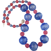 """Carved Peking Overlay Glass Bead Necklace 25"""""""