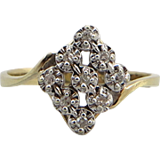 SALE Sparkling Diamond and Yellow Gold Accent Ring