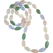 "SALE Multi-Color Pastel Gemstone Twisted Bead Necklace 34"""