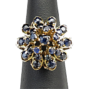 SALE Art Deco 18K and 3.5ctw Blue Sapphire Princess Style Ring