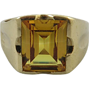 SALE Heavy, Large Citrine and 10K Gold Gentleman's Ring