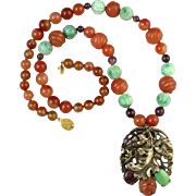 Chinese Carved Jade, Tourmaline and Carnelian Signed Art Deco Period Pendant Necklace 24""