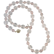 """Chinese Carved Rock Crystal and Rose Quartz Necklace Sterling Silver Clasp 23"""""""