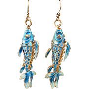 Chinese Enamel and Gilt Silver Fish Earrings