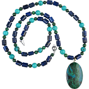 """SALE Natural Chrysocolla Pendant with Lapis, Turquoise and Malachite Bead Necklace 26"""""""