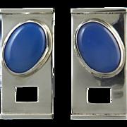 Large Blue Chalcedony Modernist Design Sterling Earrings Artisan Signed
