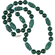 SOLD Chinese Carved Green Agate and Round Bead Necklace 26.5""