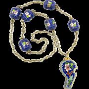 """Cloisonne Enamel Whistle Necklace 30"""""""