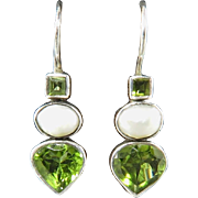 Peridot and Cultured Pearls in Sterling Silver Earrings