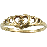 SALE 10K Gold and Diamond Heart Promise Ring