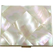 SALE 1940s Mother of Pearl Compact in Original Box with Inserts Elgin American