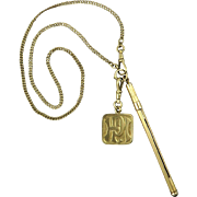 14K Victorian Champagne Swizzle Watch Chain Necklace with Large 14K Gold Fob