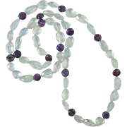 SOLD 350+cts Large Aquamarine and Sugilite Bead Necklace 33""