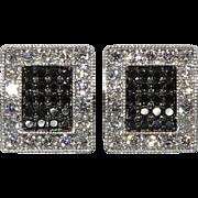 SALE .75tcw 18K White and Black Diamond Earrings