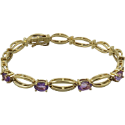 Amethyst 14K Gold Plated Link Style Bracelet