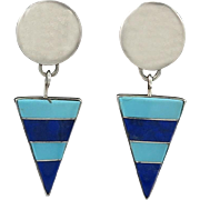 Large Turquoise and Lapis Inlaid Gemstone Dangle Earrings in Sterling Silver