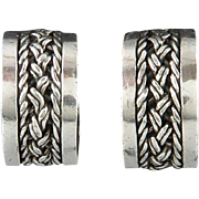SALE Chunky Sterling Silver Chain Inlay Hoops