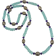 Aqua Blue Chalcedony Amethyst and Sterling Silver Necklace 32""