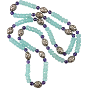 """SALE Aqua Blue Chalcedony Amethyst and Sterling Silver Necklace 32"""""""