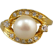 SALE 14K Gold 1/3ctw Diamond and Cultured Pearl Ring