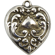 SALE Vintage Two Sided Repousse Sterling Heart Charm