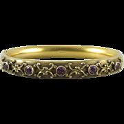 SALE Victorian Purple Paste and 14K Gold Fill Bangle Bracelet Signed W&SB