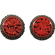 Chinese Export Carved Authentic Cinnabar Earrings