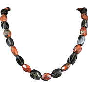 Chunky Red Jasper and Smoky Quartz Faceted Bead Necklace 21""
