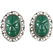 Vintage Carved Green Onyx and Sterling Silver Earrings