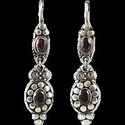 Long Garnet and Sterling Silver Dangle Style Earrings