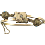 Victorian Etruscan Style 12K Rolled Gold Hinged Bracelet