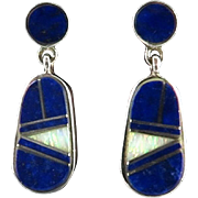 Opal and Lapis Sterling Silver Dangle Earrings Signed