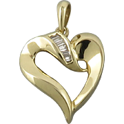 SALE 14K Diamond Heart Pendant