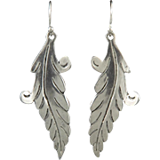 Long Sterling Leaf Dangle Earrings Vintage Taxco
