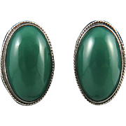 c1930 Mexico Green Onyx and Sterling Silver Earrings