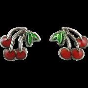 Sterling Silver Enameled Cherry Earrings