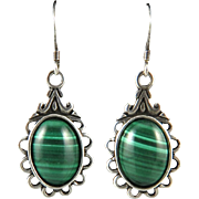 Well Banded Natural Malachite Dangle Earrings in Sterling Silver Signed