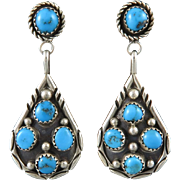 Big and Bold Turquoise and Sterling Silver Earrings Signed Navajo