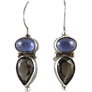 Blue Iolite and Smoky Quartz Sterling Silver Earrings