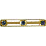 Antique Edwardian 14K Gold and Blue Spinel Brooch