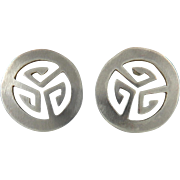 Vintage Taxco Sterling Cut Out Sheild Earrings