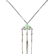Antique Chinese Silver Opium Chatelaine with Jade Charm 30""