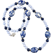 Chinese Porcelain Lapis and Blue Lace Agate Necklace 33""