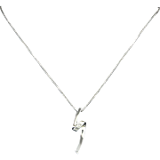 Diamond and Sterling Silver Modernist Style Pendant Necklace
