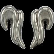 Vintage Taxco Swirling Puffy Earrings in Sterling Silver