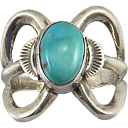 Navajo Turquoise and Sterling Silver Ring Signed