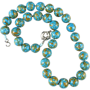 Composite Turquoise Large Bead Necklace