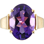 Exceptional 5ct Amethyst and 14K Gold Ring